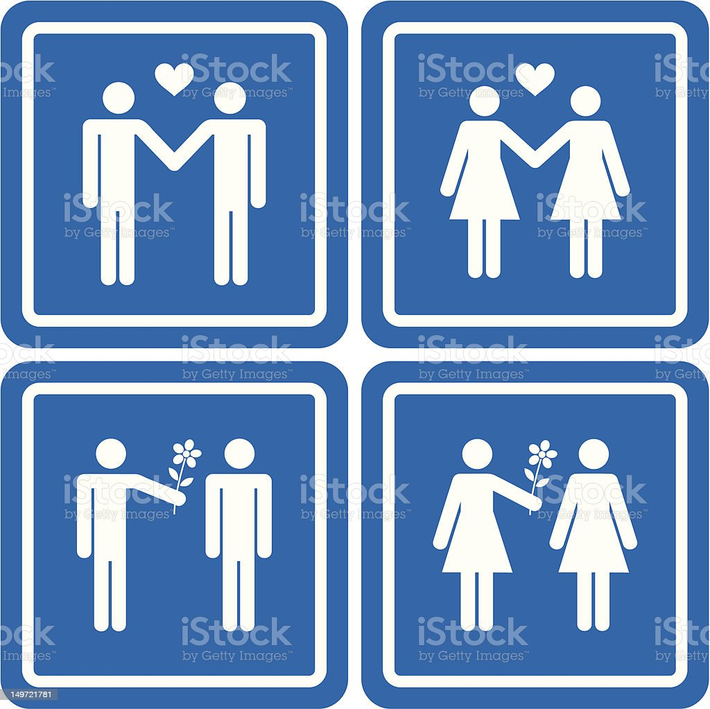 Gay & Lesbian Couples vector art illustration