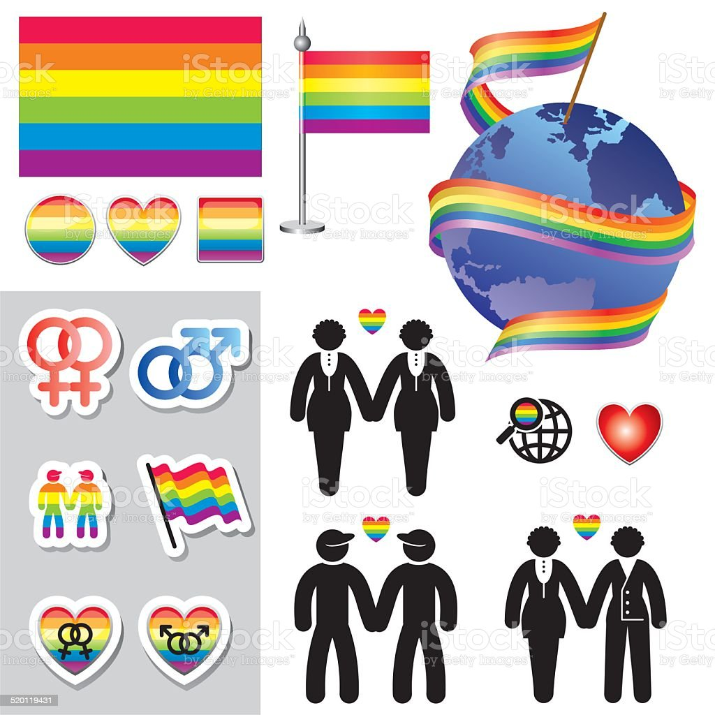 gay map icons vector art illustration