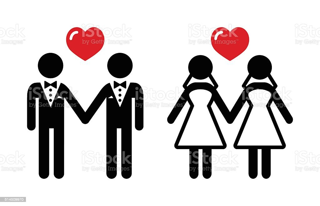 Gay marriage icons set vector art illustration