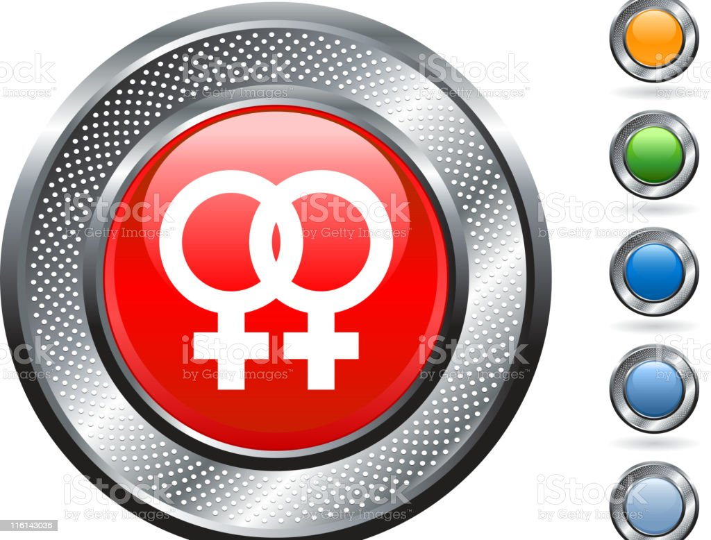 gay marriage icon on button with metallic border royalty-free stock vector art