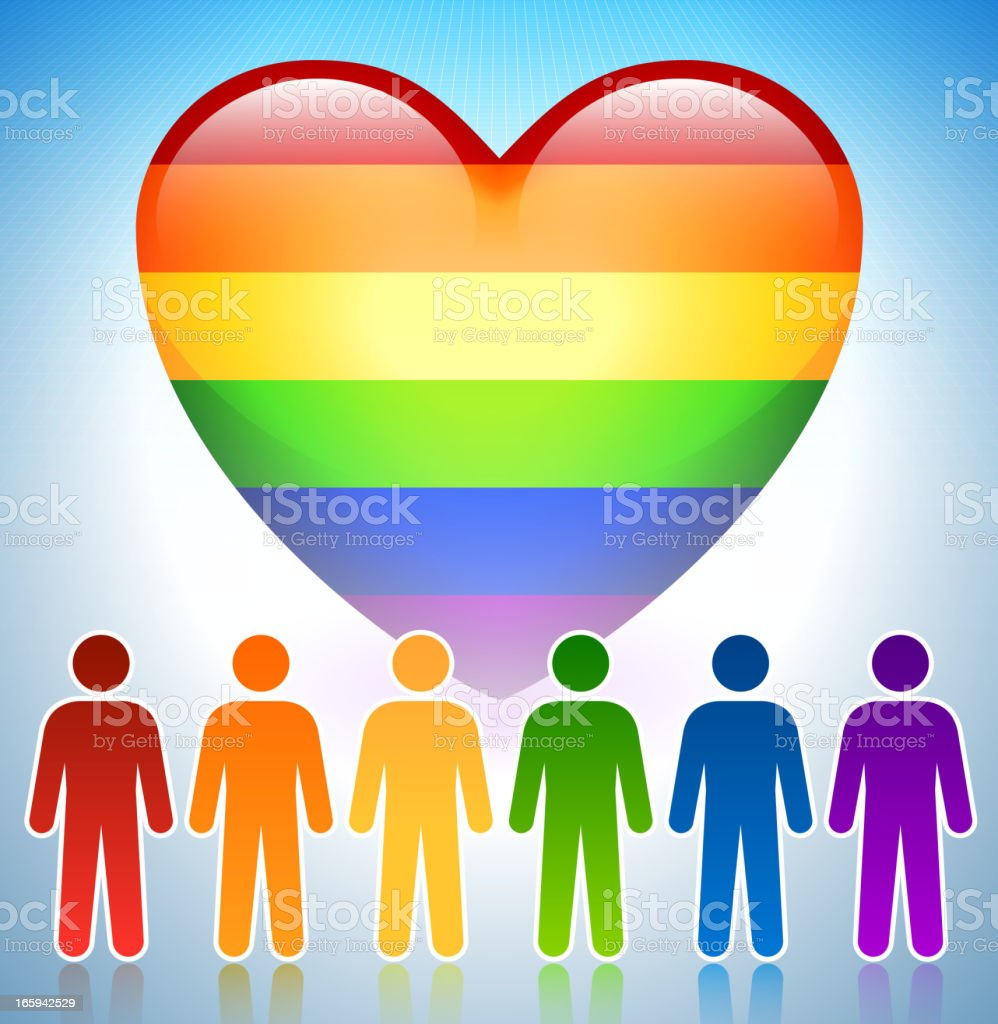 Gay Marriage Support Concept with Rainbow Heart vector art illustration