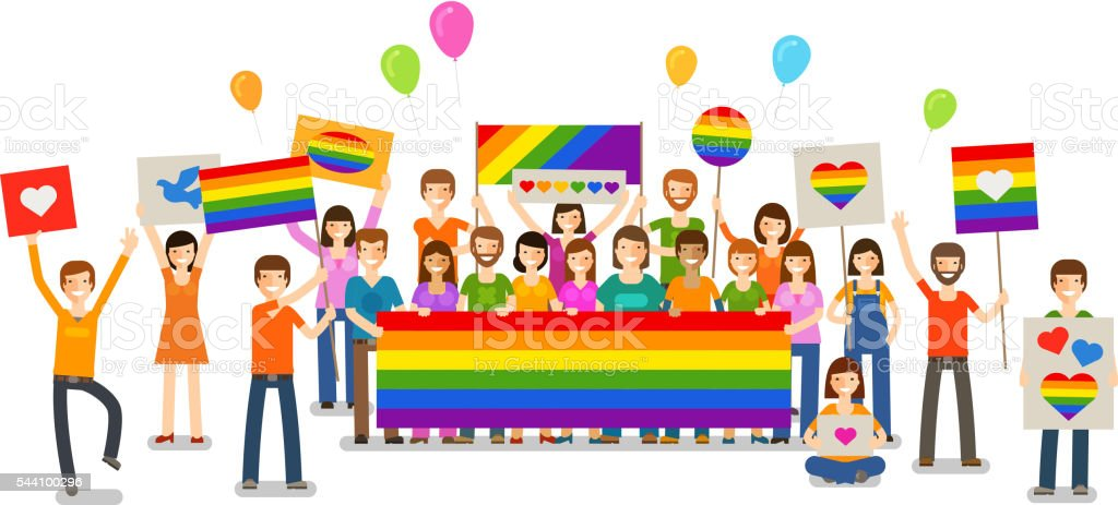 Gay parade. People with placards. Sexual revolution or free love vector art illustration