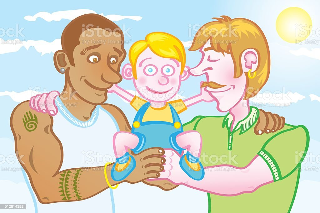gay parents with their kid vector art illustration