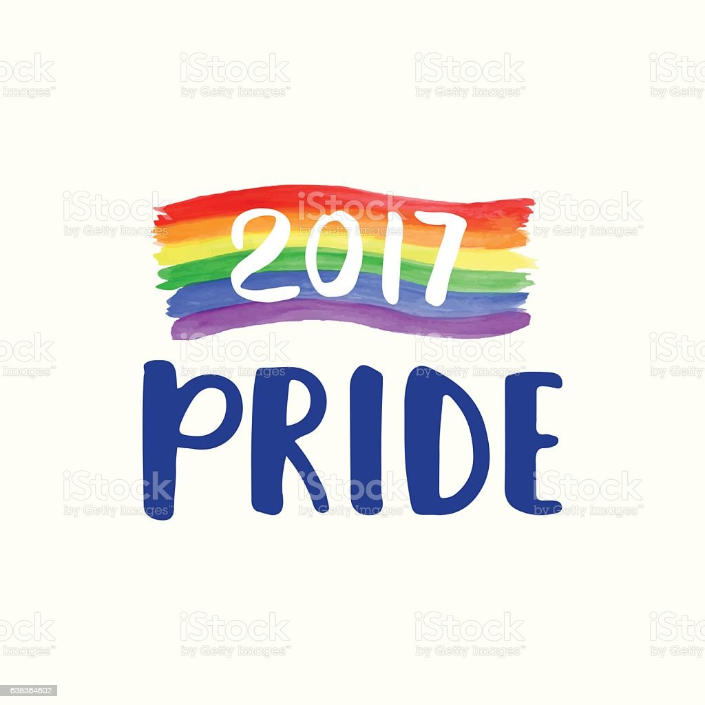 Gay Pride 2017 poster rainbow spectrum flag, brush lettering vector art illustration