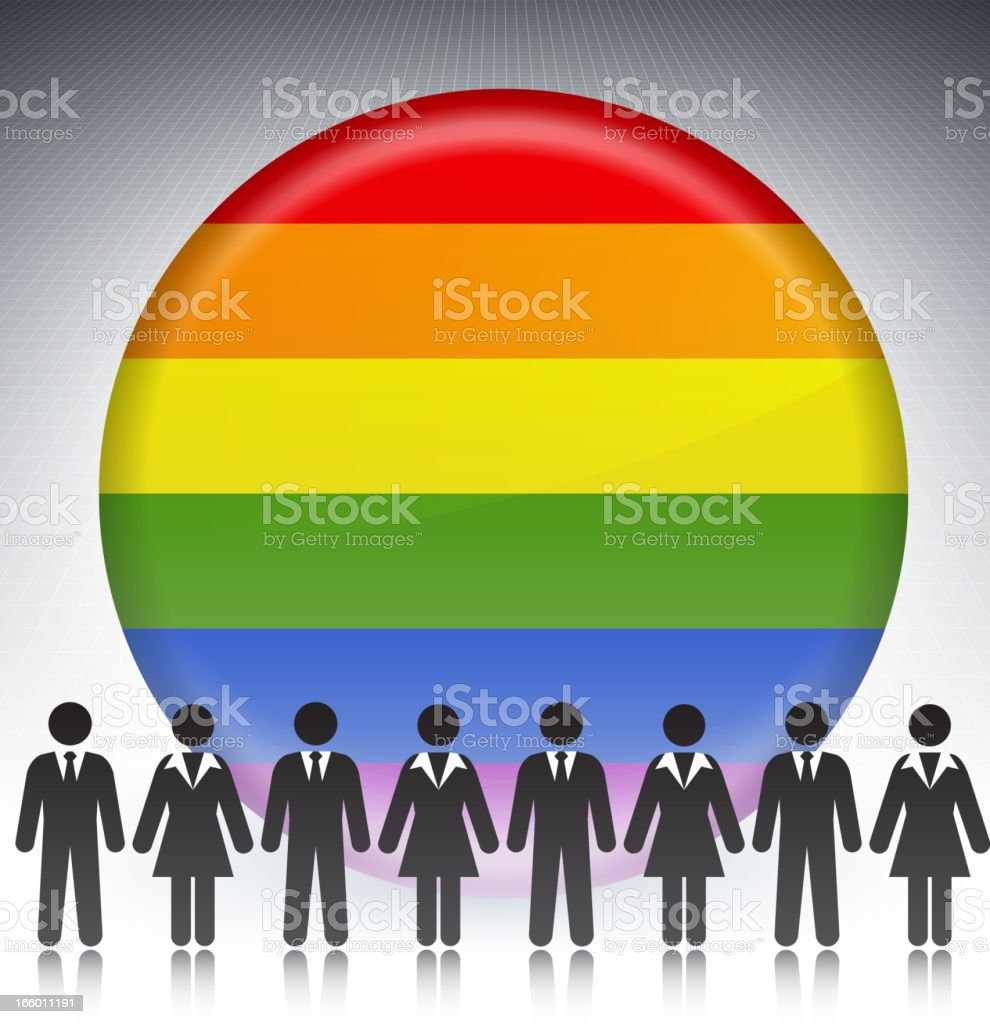 Gay Pride Flag Button with Business Concept Stick Figures vector art illustration