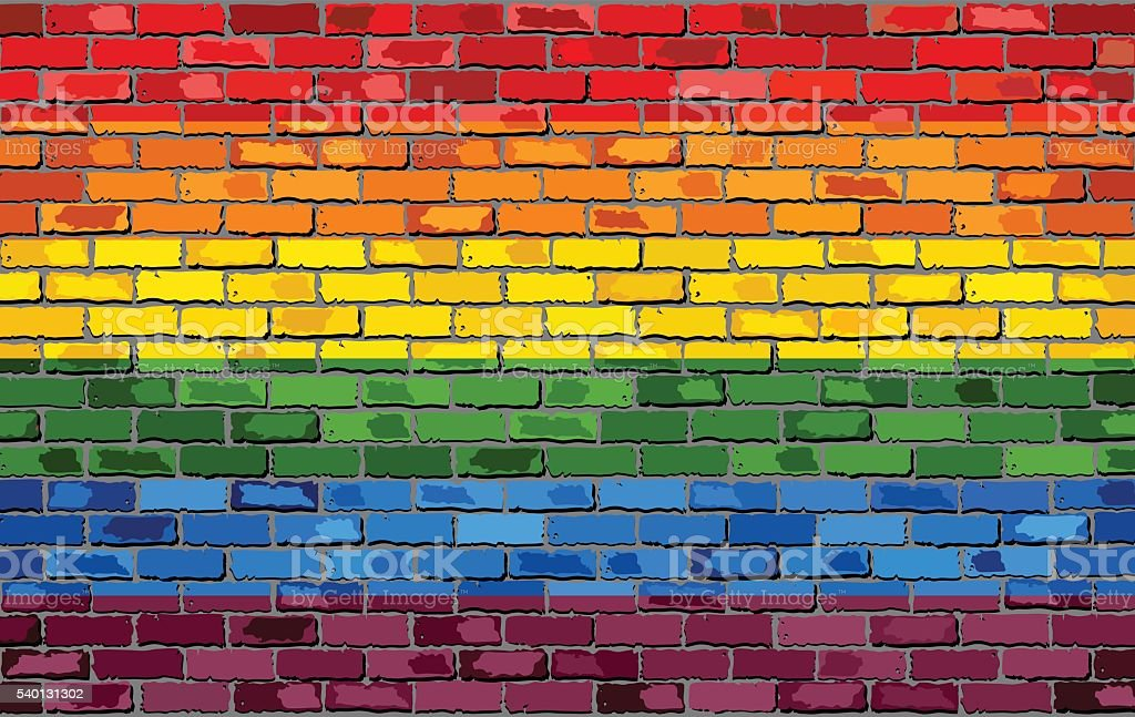 Gay pride flag on a brick wall vector art illustration