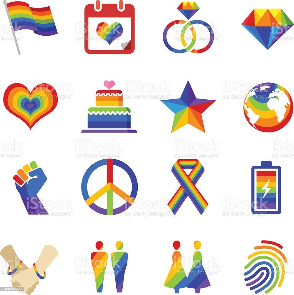 Gay pride icons vector art illustration