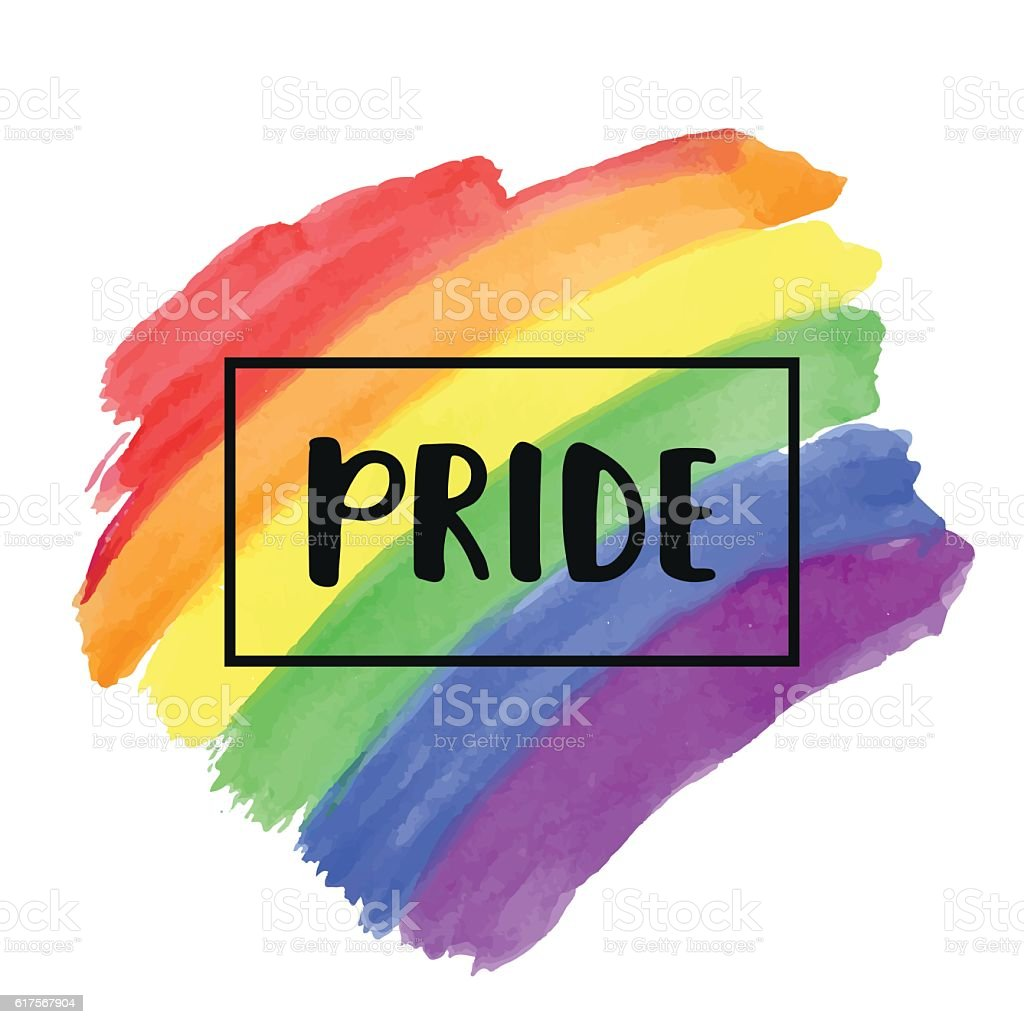 Gay Pride lettering on a watercolor rainbow spectrum flag vector art illustration