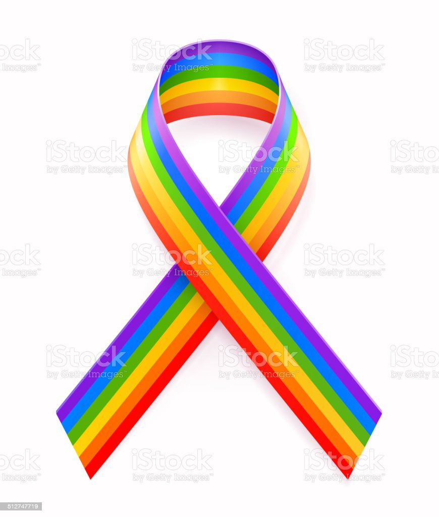 Gay Pride Ribbon vector art illustration