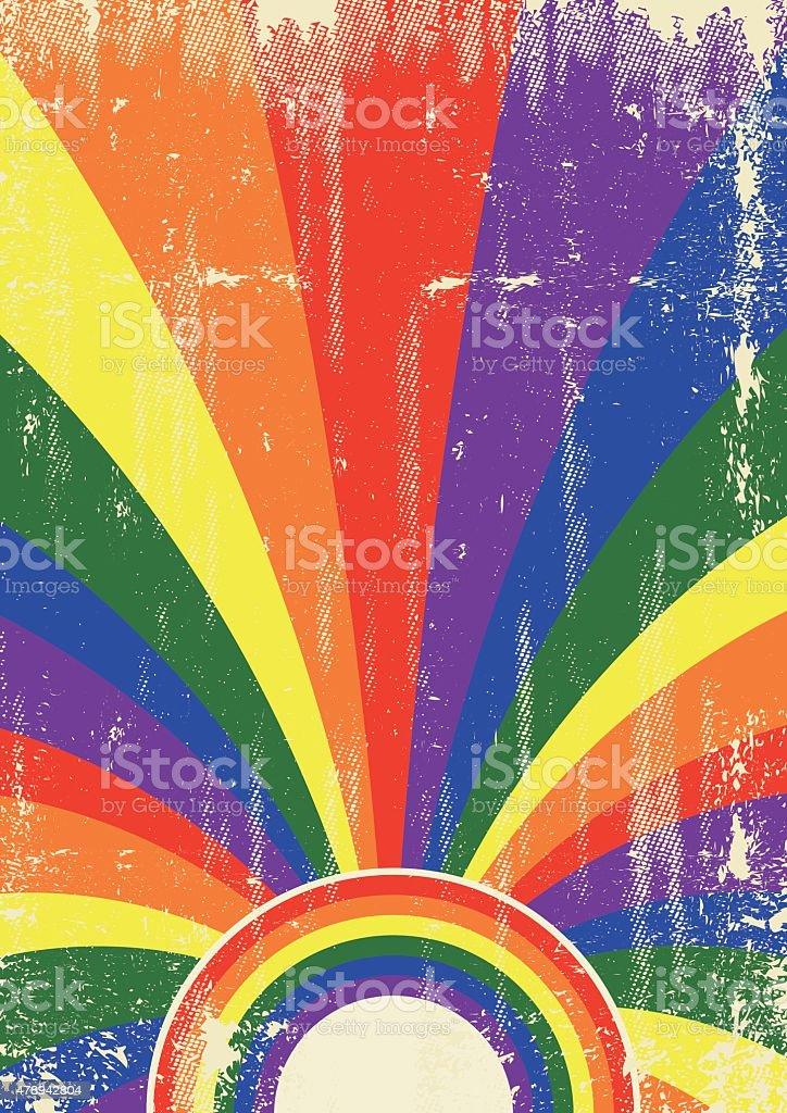 Gay retro sunbeams poster vector art illustration