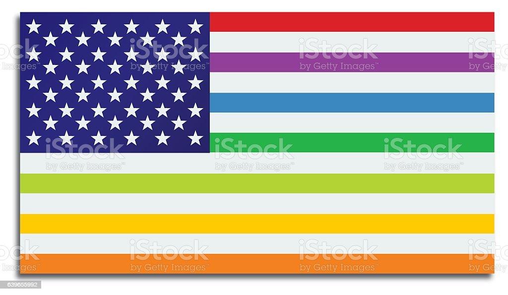 Gay Rights American Flag vector art illustration