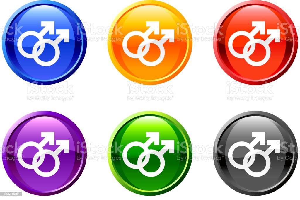 gay royalty free vector icon set on round shiny buttons royalty-free stock vector art
