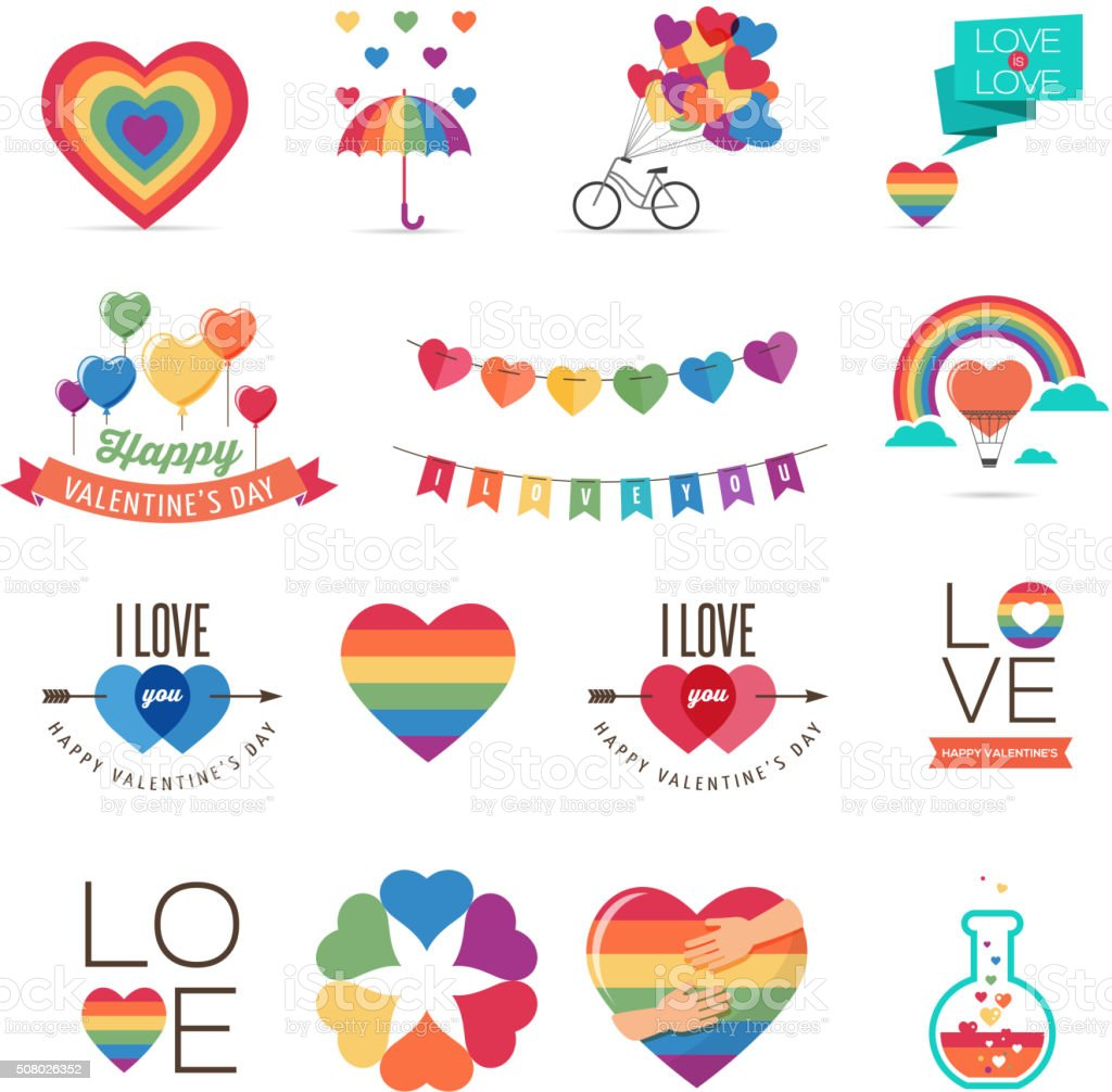 Gay Valentines day icons vector art illustration