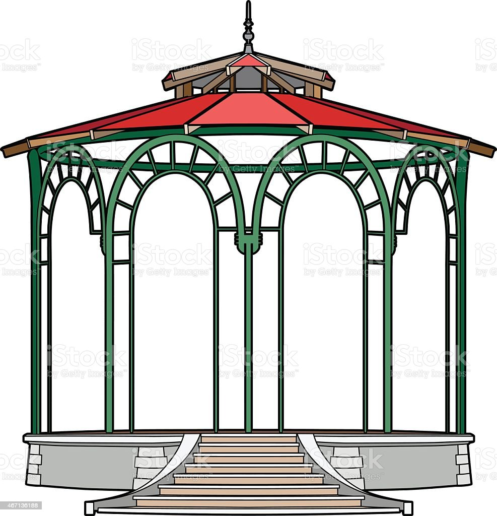 Gazebo with red roof vector art illustration