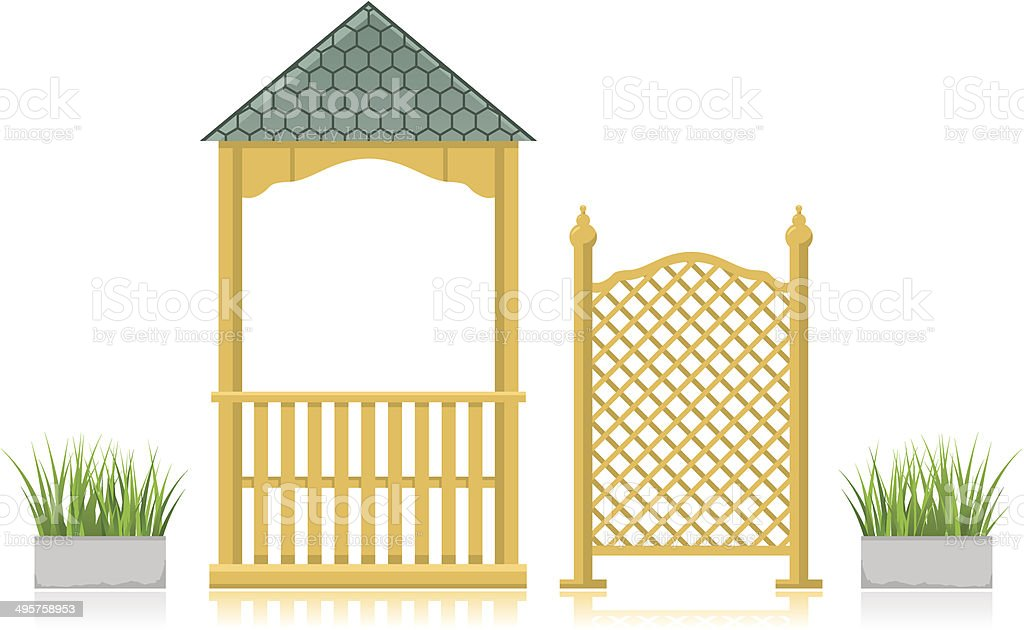 Gazebo with wooden lattice and grass vector art illustration