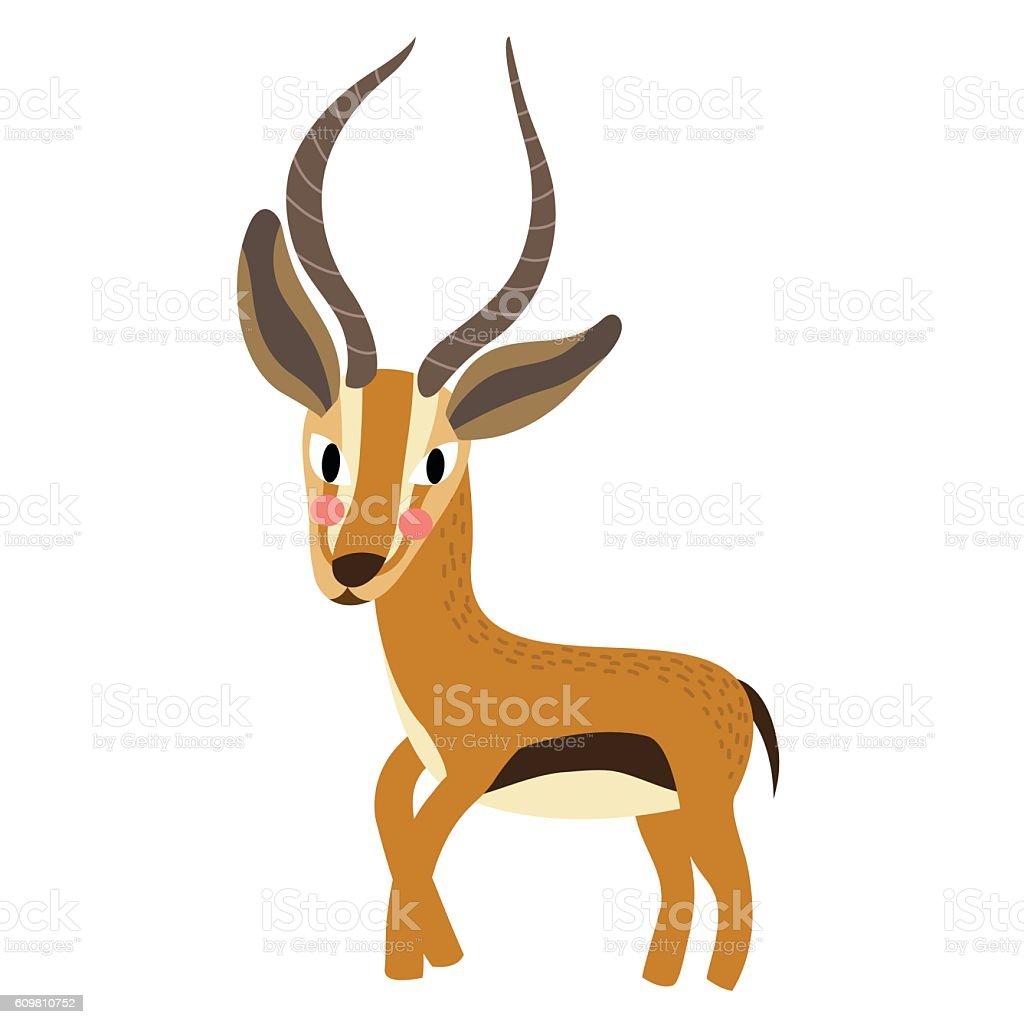 Gazelle animal cartoon character vector illustration. vector art illustration