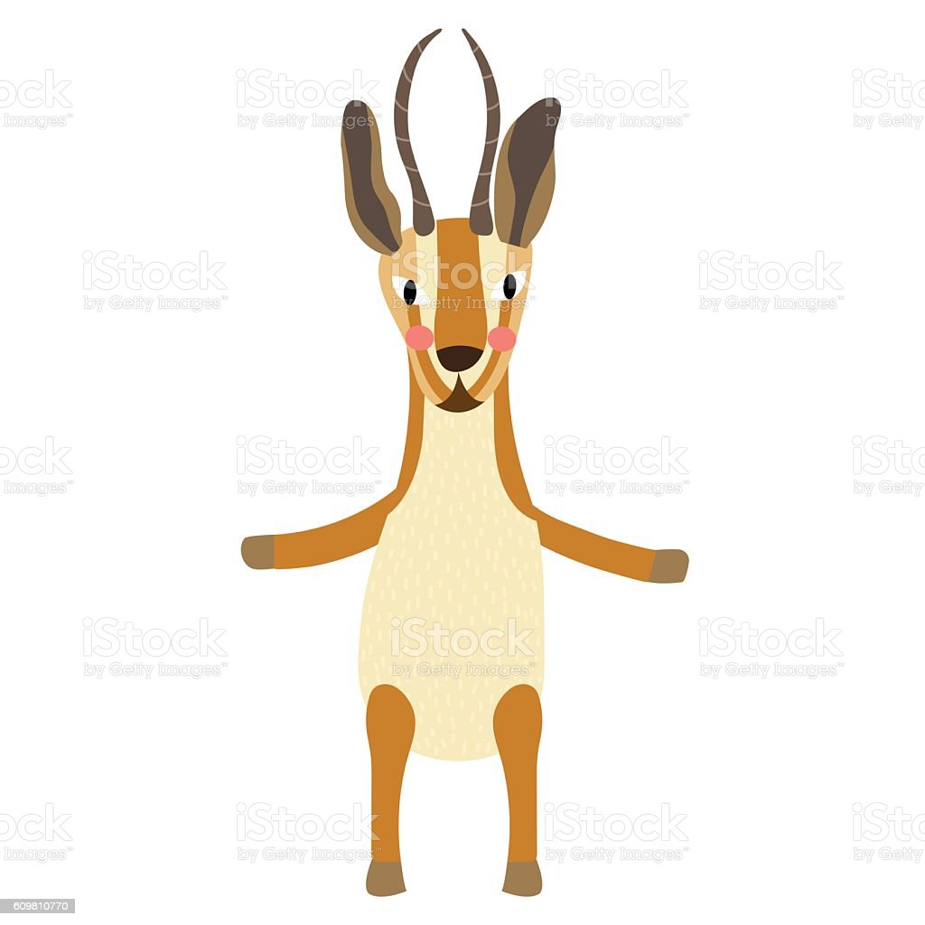 Gazelle standing on two legs animal cartoon character vector illustration. vector art illustration