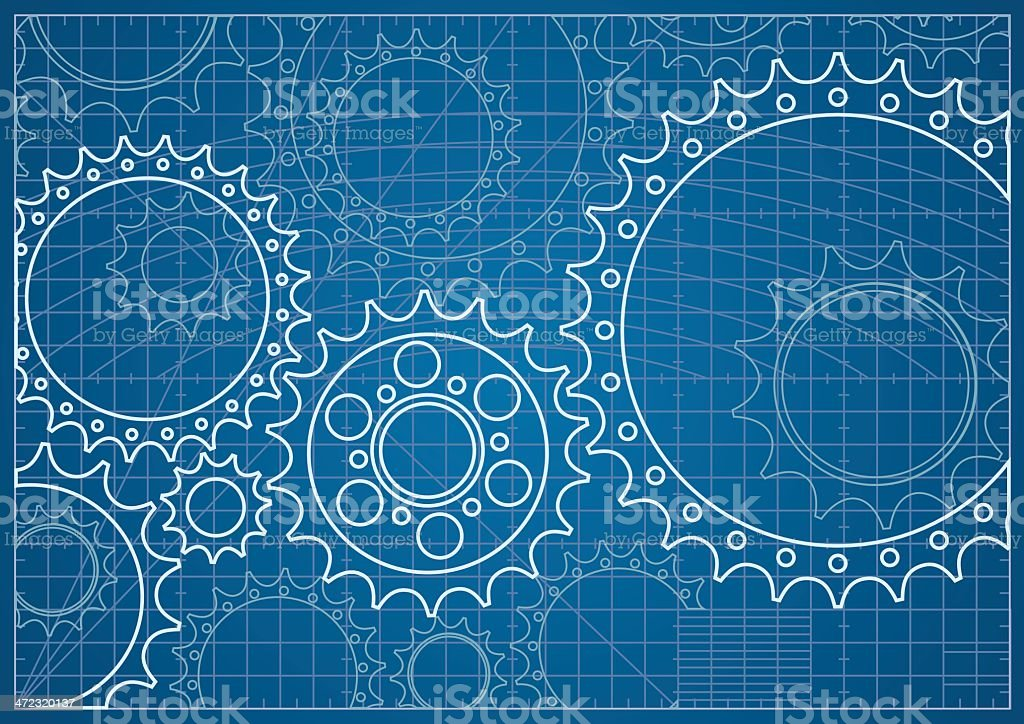 Gear Blueprint vector art illustration