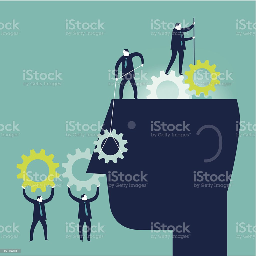 Gear Brain vector art illustration