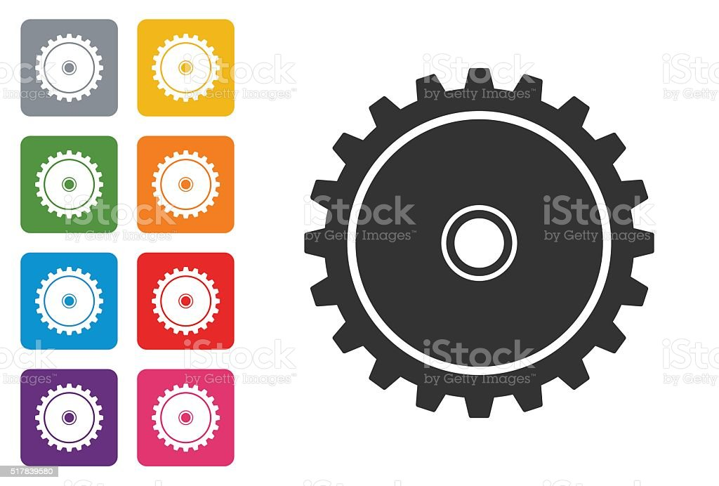 Gear icon 17 on colored button stock photo