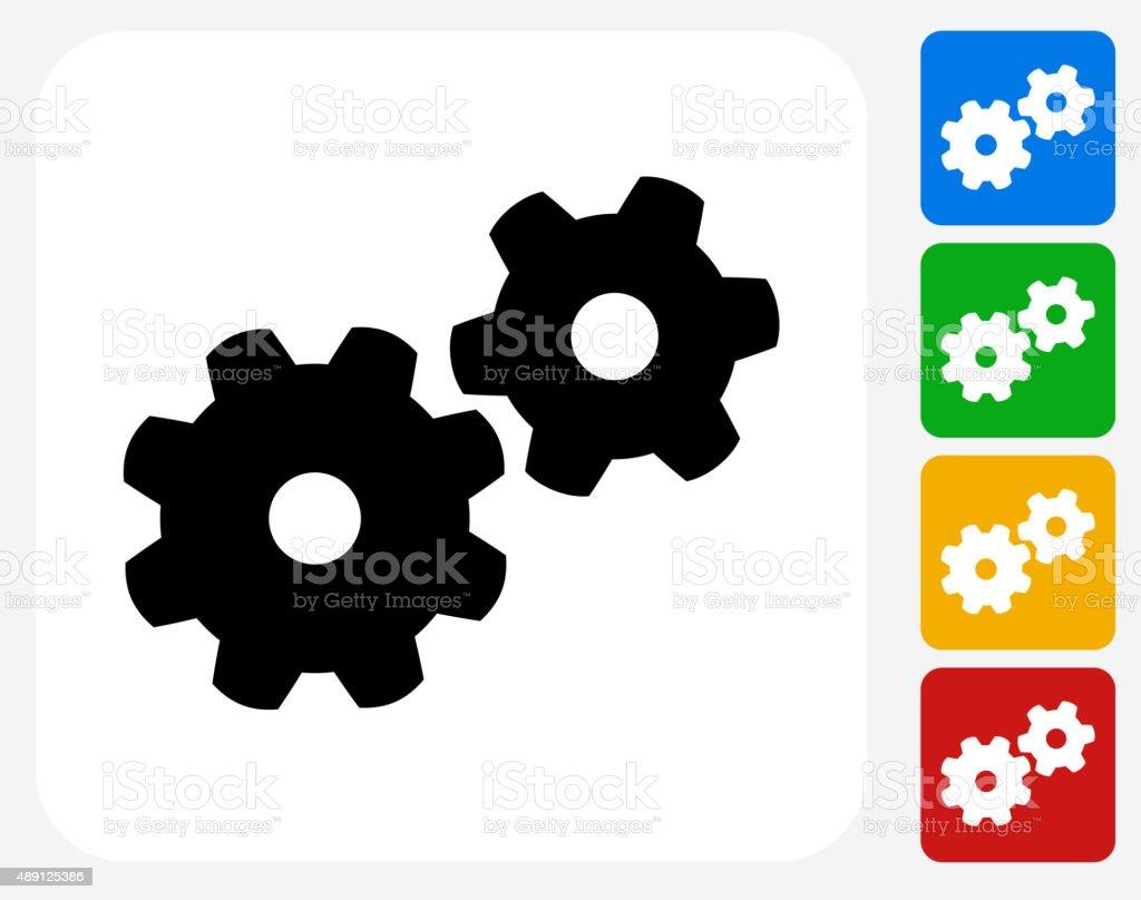 Gear Icon Flat Graphic Design vector art illustration