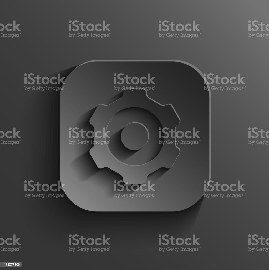 Gear icon - vector black app button royalty-free stock vector art