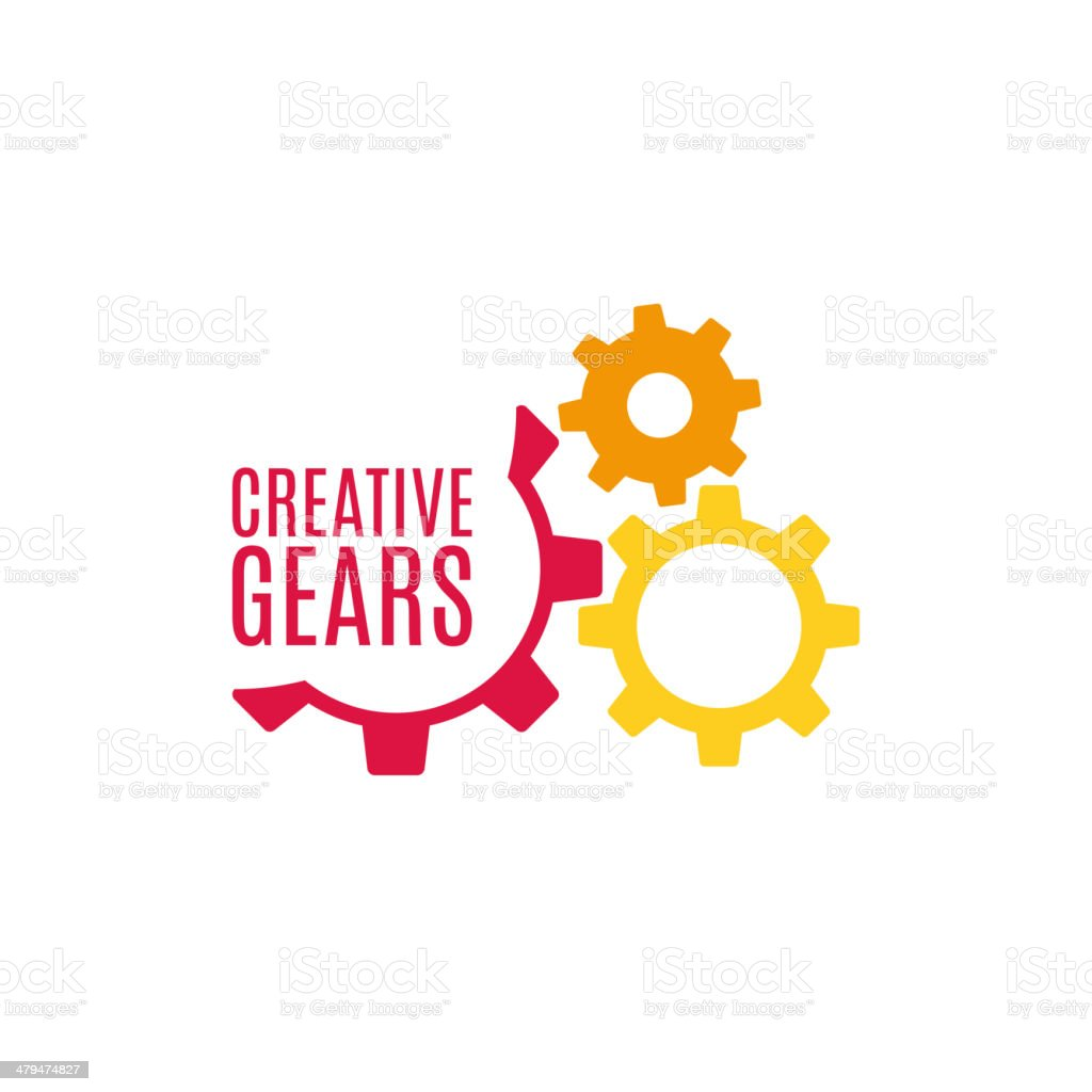 Gear icon with place for your text vector art illustration