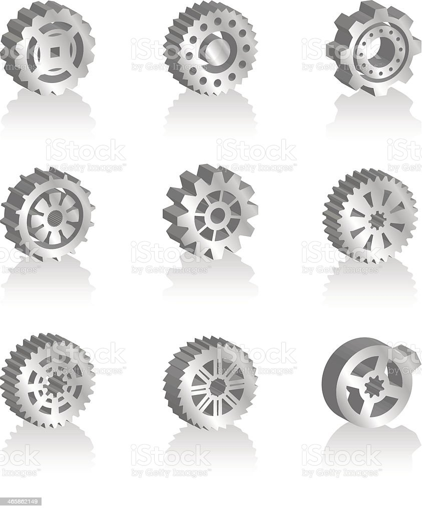 Gear icons 3d royalty-free stock vector art