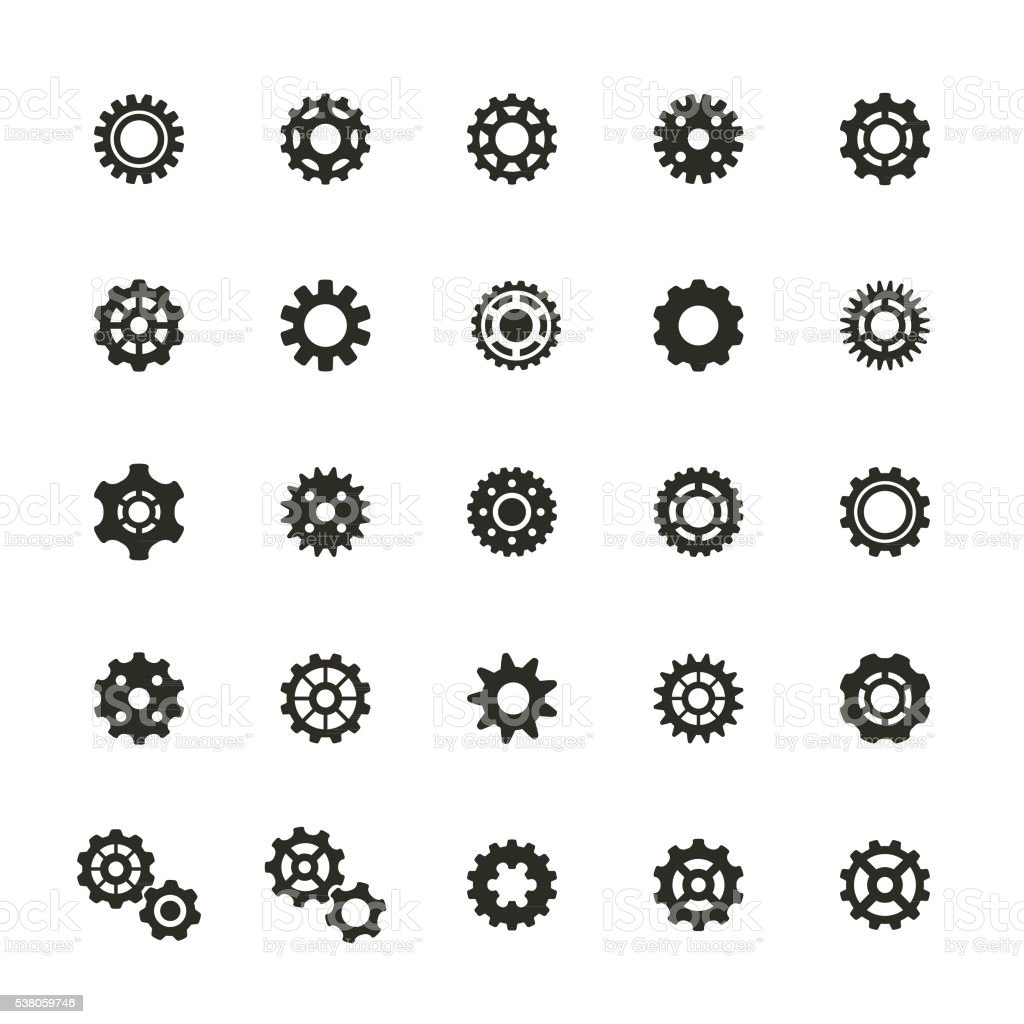 Gear Icons Set vector art illustration