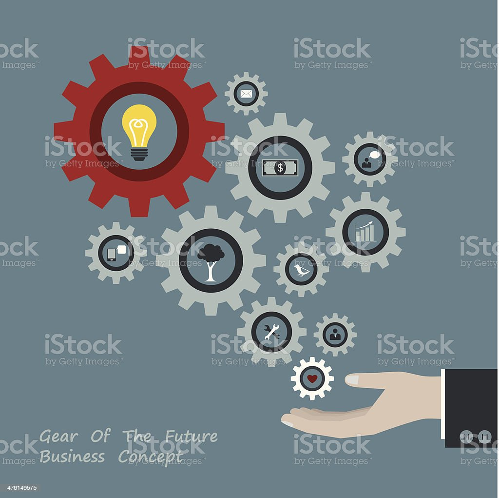 Gear of successful concept in Businessman hand royalty-free stock vector art