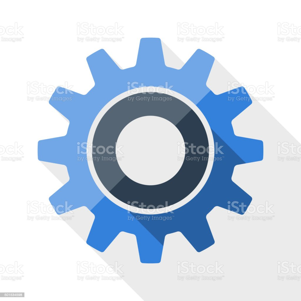Gear or settings icon with long shadow vector art illustration