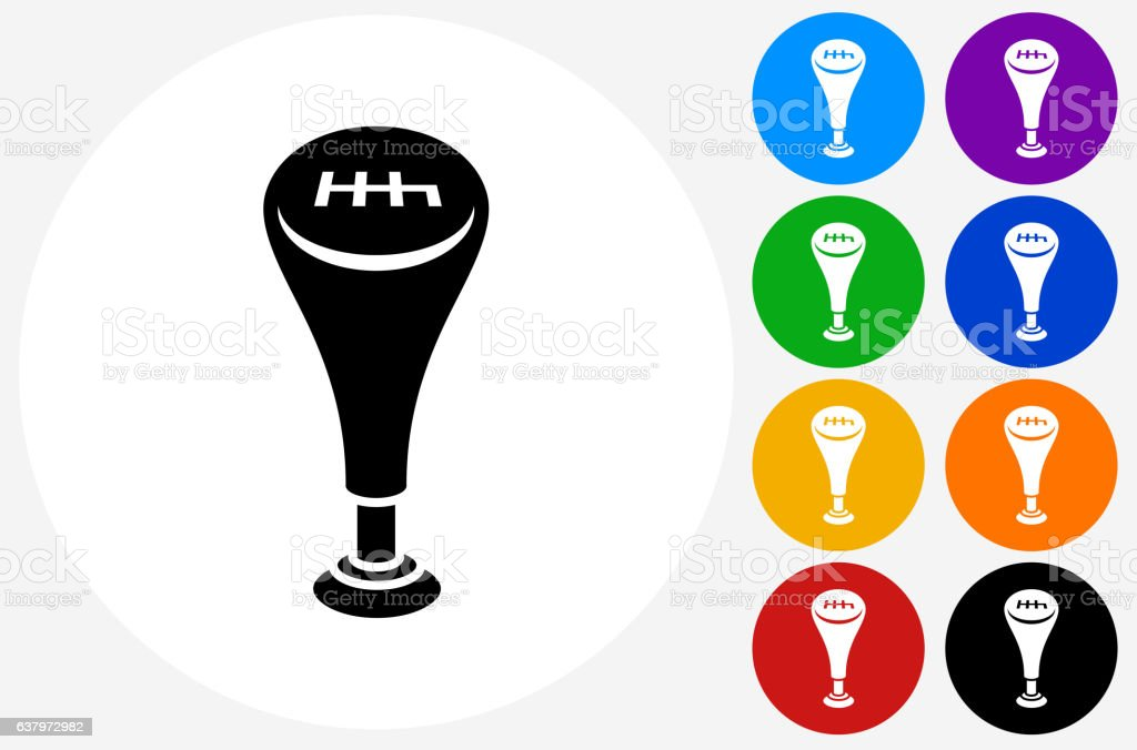 Gear Shift Icon on Flat Color Circle Buttons vector art illustration