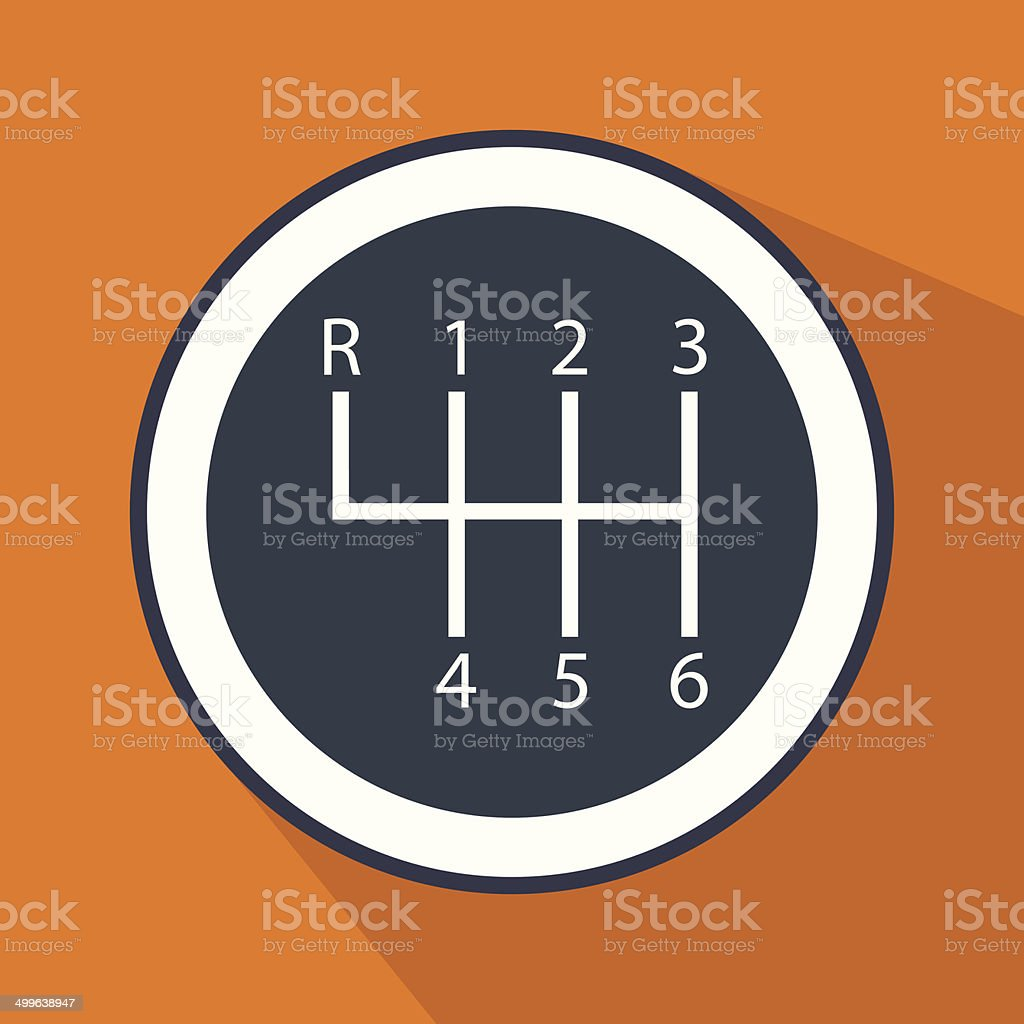 Gear shifter icon vector art illustration