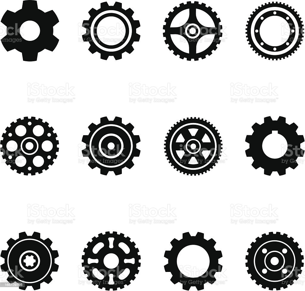 Gear Silhouettes royalty-free stock vector art