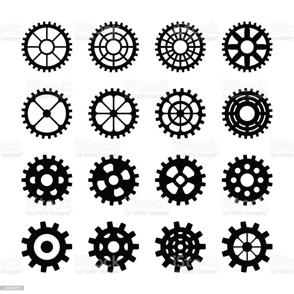 Gear Silhouettes vector art illustration