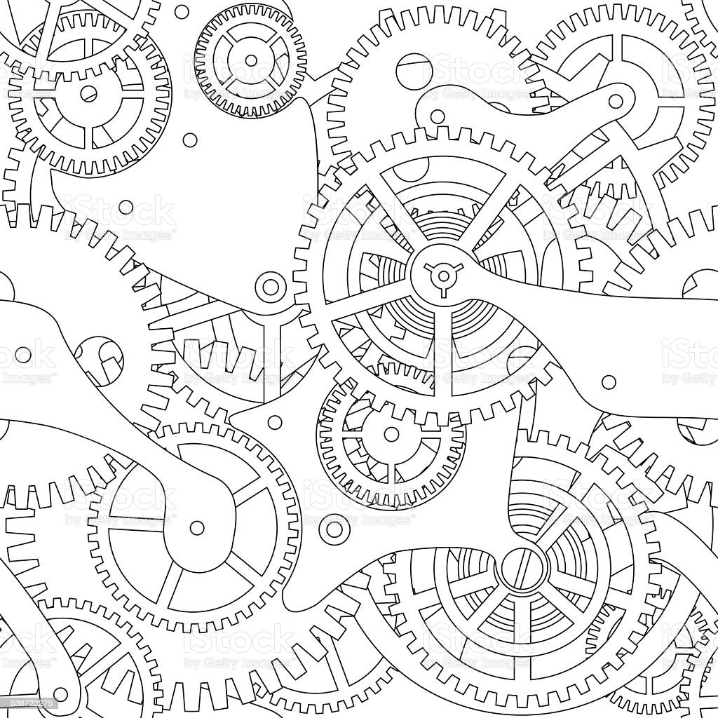 Gear vector seamless texture vector art illustration
