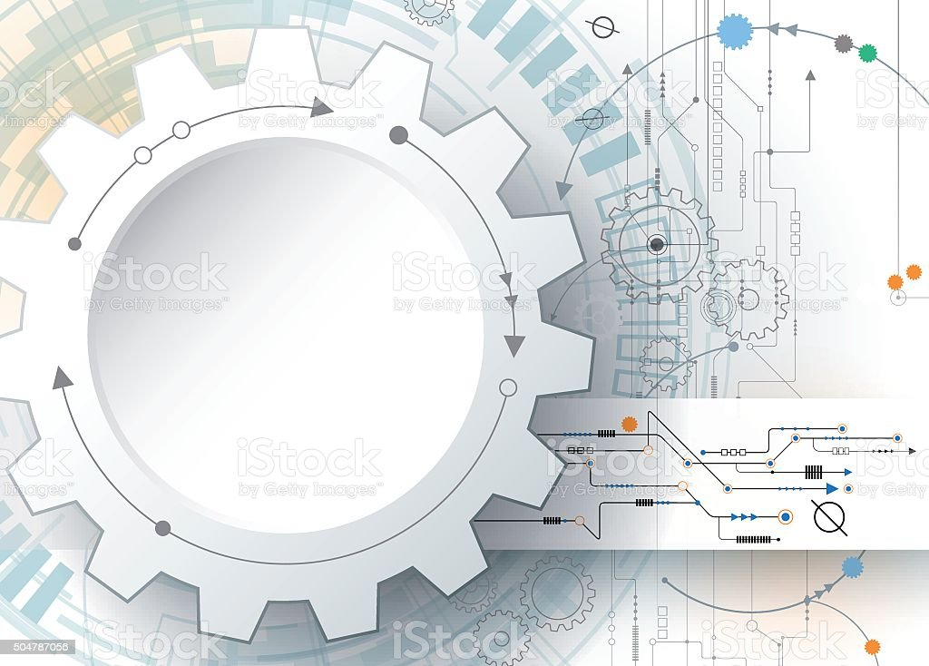 Gear wheel and circuit board, Digital technology and engineering concept vector art illustration