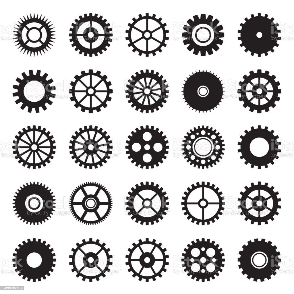 Gear wheel icons set 1 royalty-free stock vector art