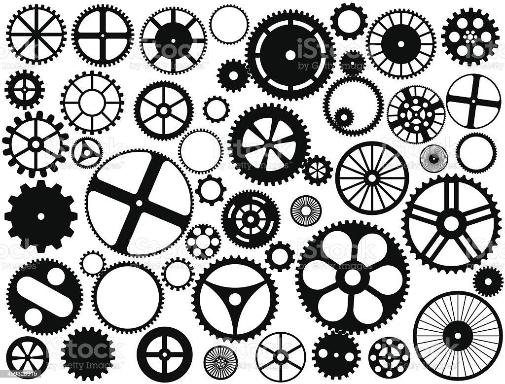 Gear wheel silhouettes vector art illustration