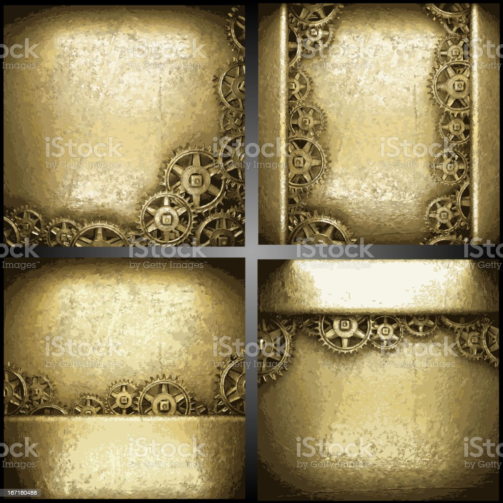 gear wheels on gold background set royalty-free stock vector art