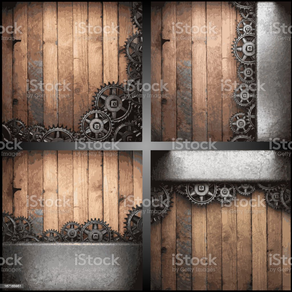 gear wheels on wooden background royalty-free stock vector art