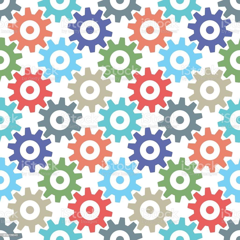 Gear wheels seamless pattern vector art illustration