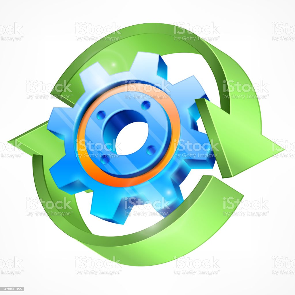 Gear with green arrows royalty-free stock vector art