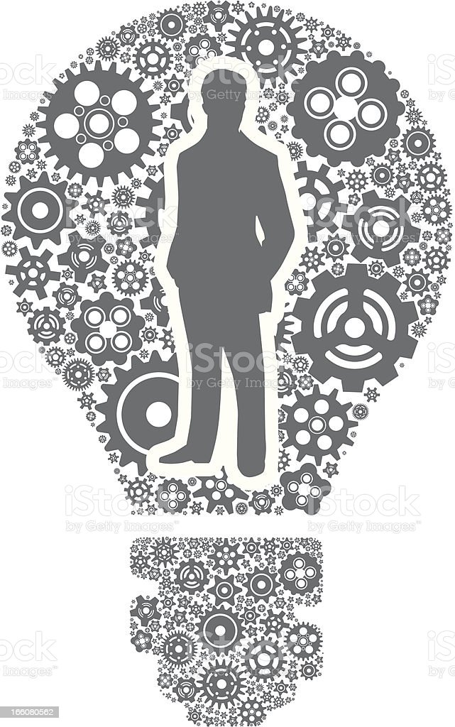Gears and a silhouette man forming a light bulb vector art illustration