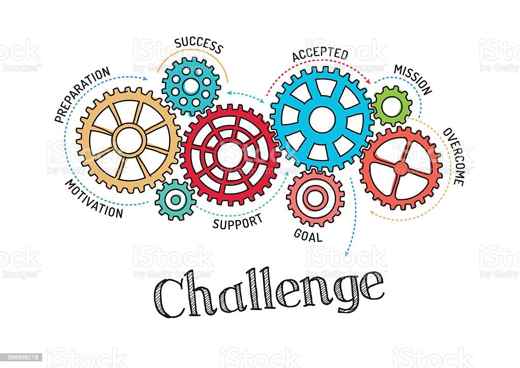 Gears and Challenge Mechanism vector art illustration