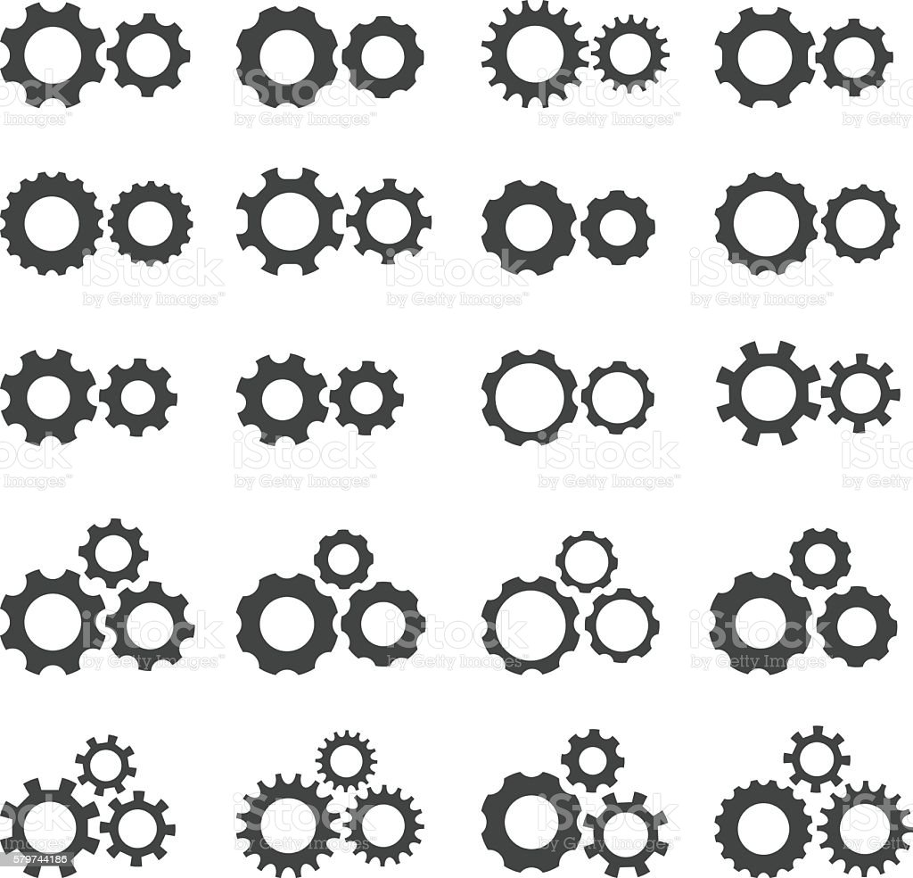 Gears and cogs icons set vector art illustration