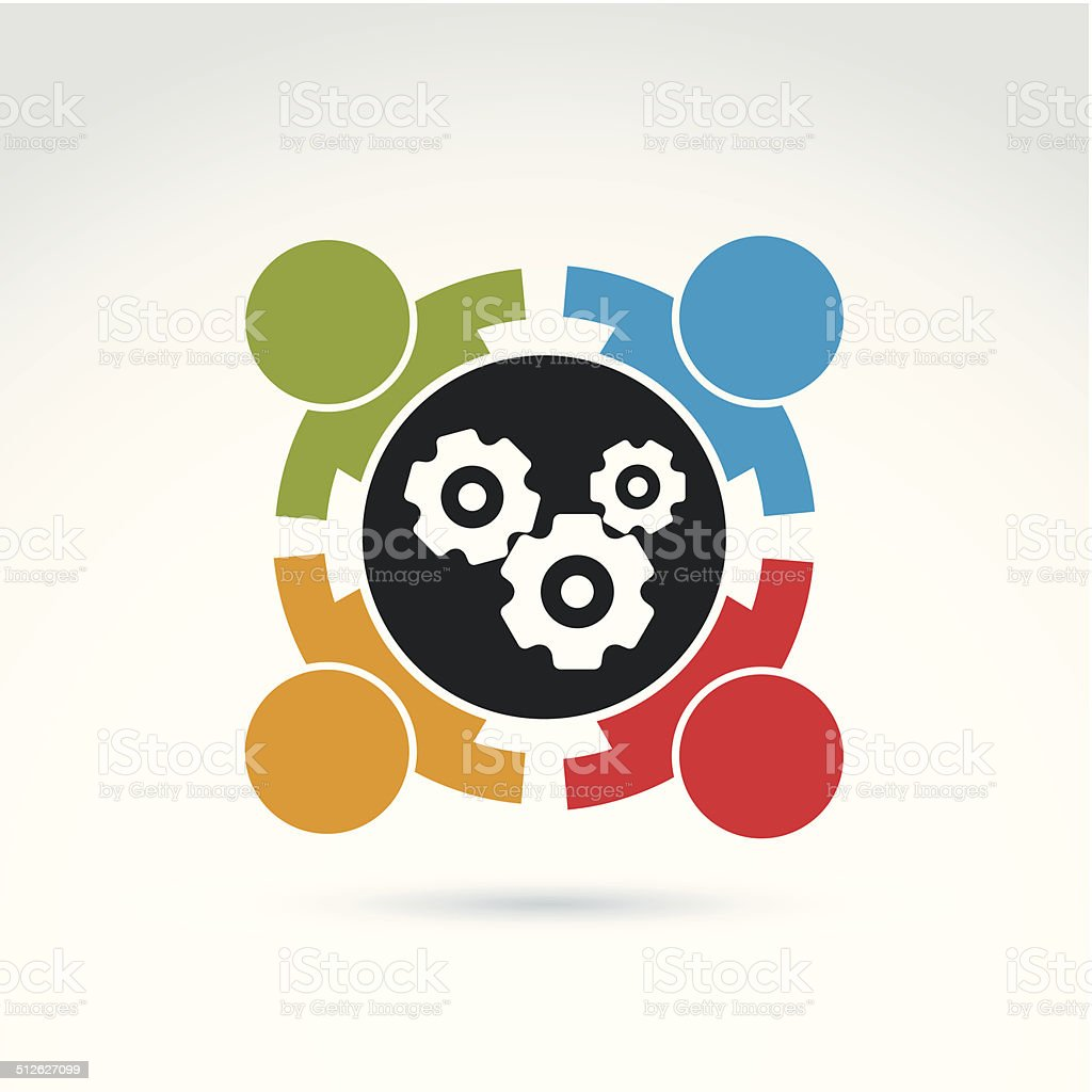 Gears and cogs teamwork theme icon, vectorl stylish symbol vector art illustration