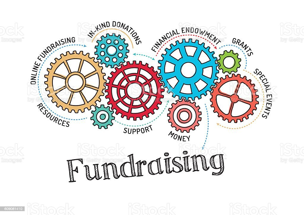 Gears and Fundraising Mechanism vector art illustration