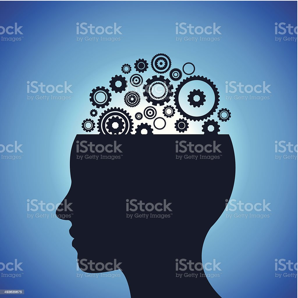 gears and head Illustration vector art illustration