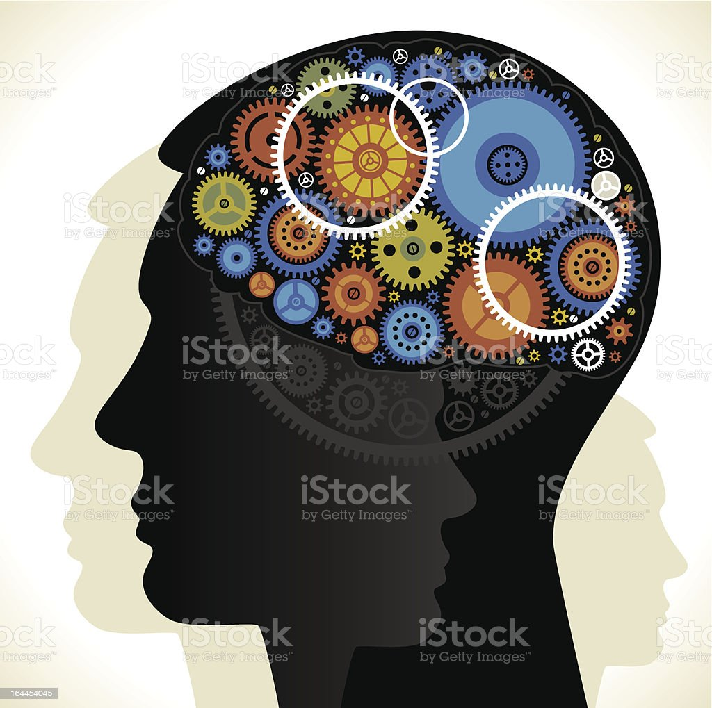 gears and head royalty-free stock vector art